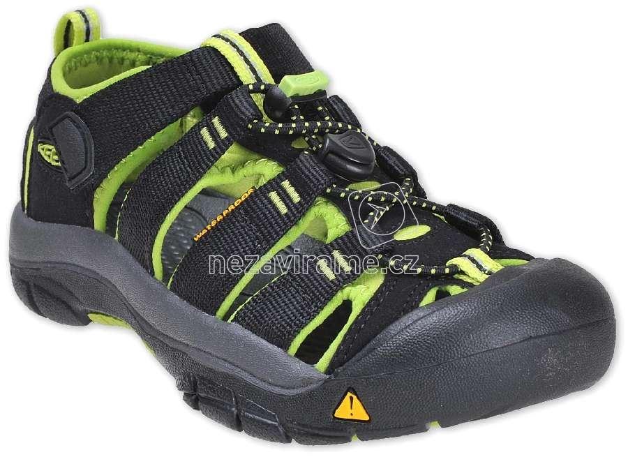 Detské letné topánky Keen Newport black/lime green