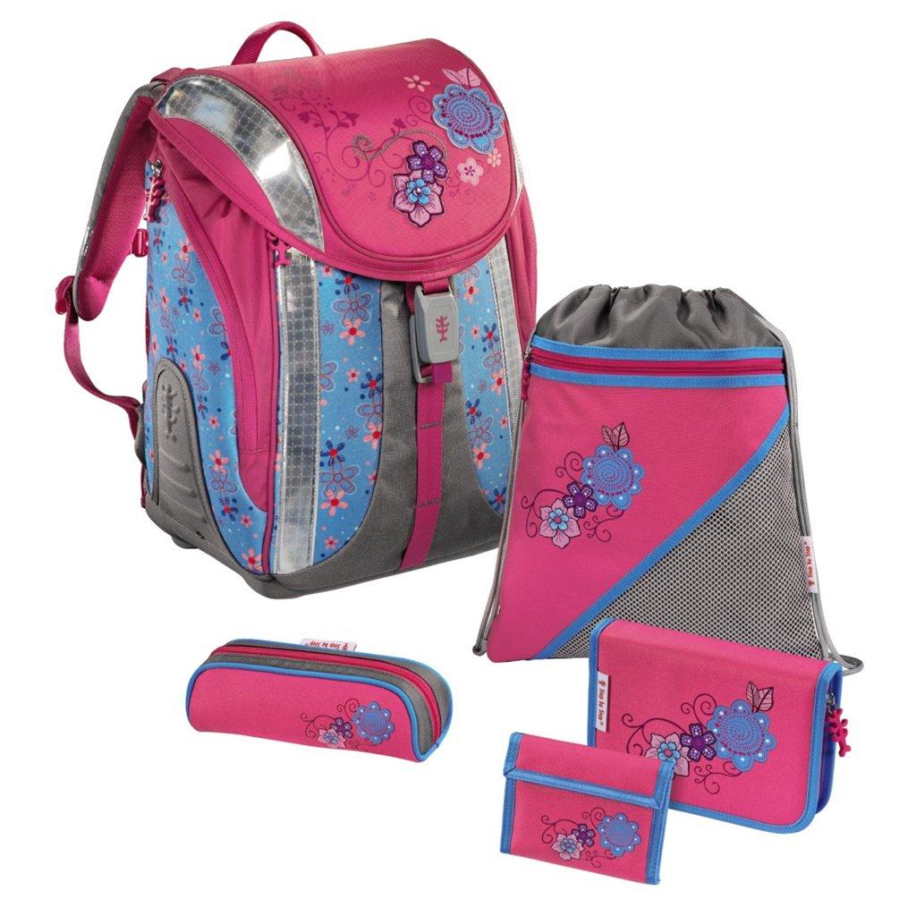 Školní batoh - 5-dílný set, Flexline Květiny, certifikát AGR