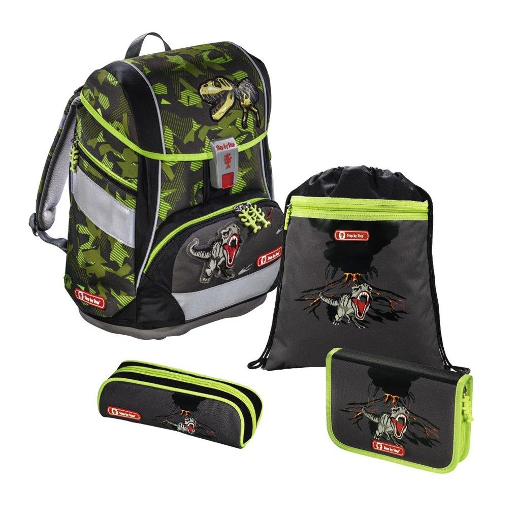 Školní aktovka/batoh 2v1 pro prvňáčky – 4-dílný set, Step by Step T-Rex, certifikát AGR