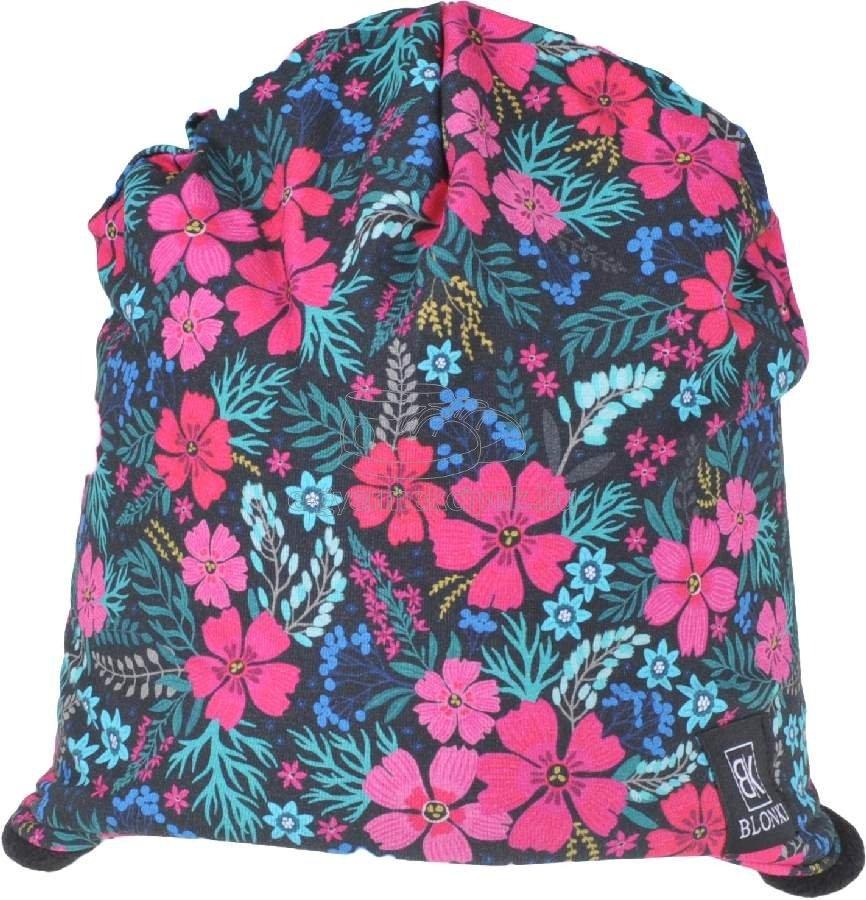 Téli gyerek sapka Blonki sötét virágok