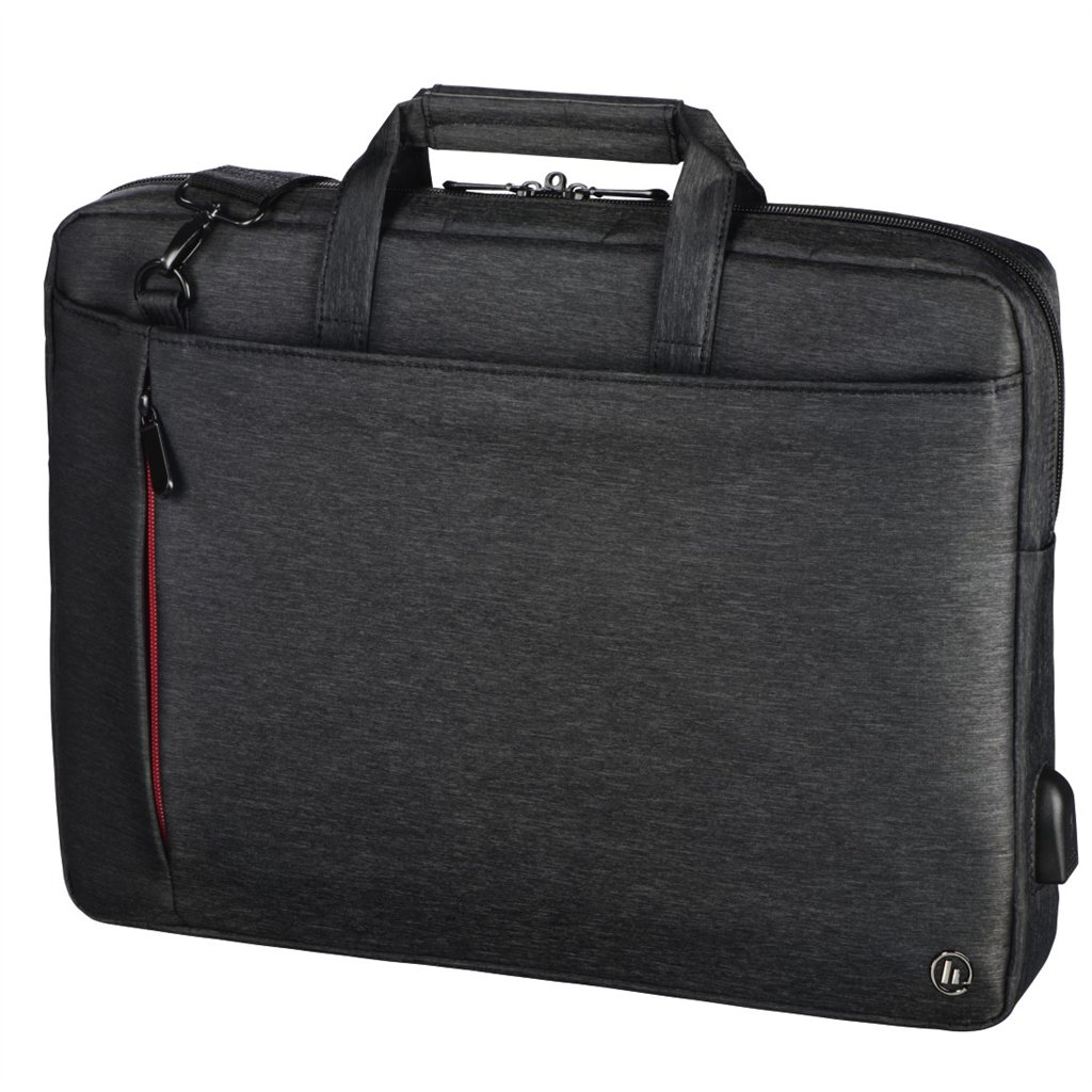"Hama taška na notebook s integrovaným USB káblom Manchester, 36 cm (14,1""), čierna"
