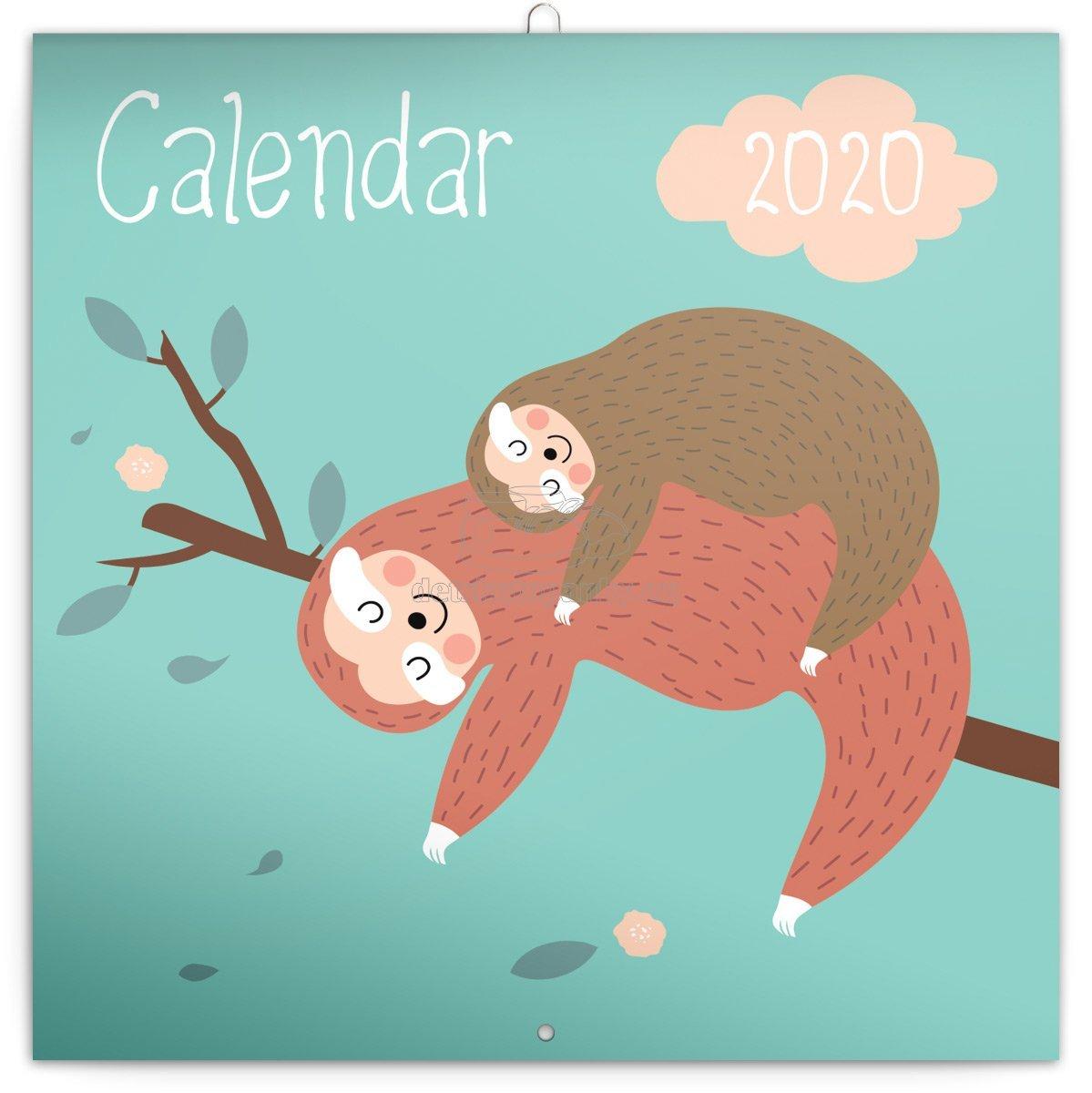 Poznámkový kalendář Šťastní lenochodi 2020, 30 × 30 cm, PGP-6728-V
