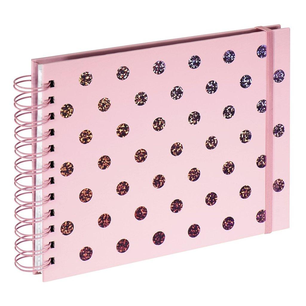Hama album klasický špirálový TWINKLE 24x17 cm, 50 strán, ružový, biele listy