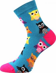 Detské ponožky Boma Dedot Sovičky - petrolejová