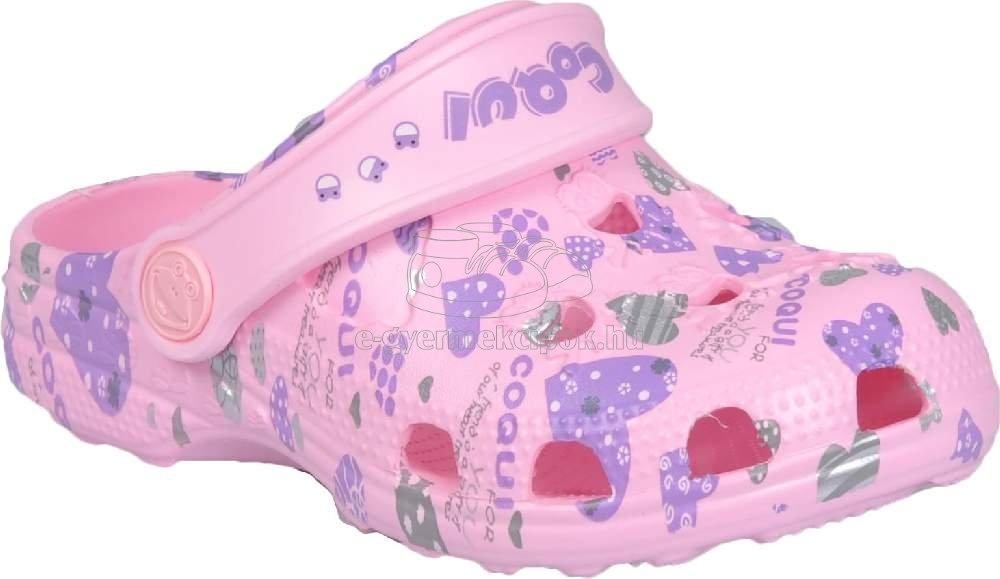 Strandpapucs Coqui 8714 pink hearts