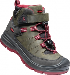 Detské zimné topánky Keen REDWOOD MID WP YOUTH steel grey/red dahlia