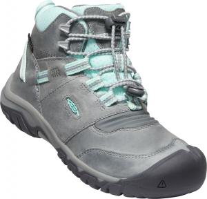 Trekové topánky Keen RIDGE FLEX MID WP YOUTH grey/blue tint