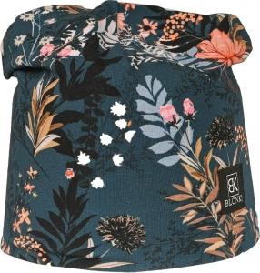 Detská jarná čiapka Blonki kvety / tmavo modrá