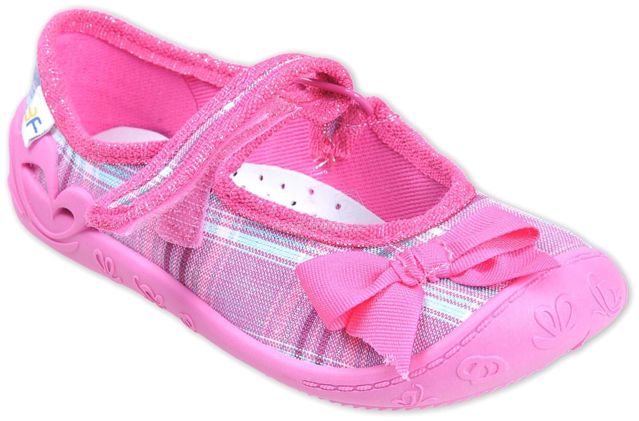 7bab3c9fa50 Dětské boty na doma MB 4A2 5 růžová mašle